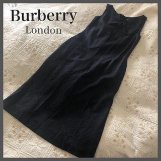 バーバリー(BURBERRY)の☆Burberry☆バーバリー☆リボン付ロングノースリーブワンピース*チェック柄(ロングワンピース/マキシワンピース)