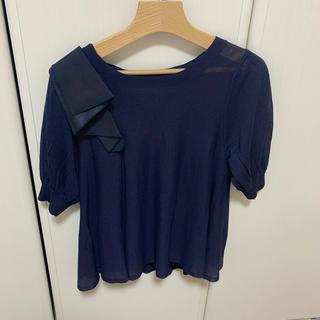 ランバンオンブルー(LANVIN en Bleu)のランバンオンブルー   未使用 肩リボン トップス  キャミソール付き(カットソー(半袖/袖なし))