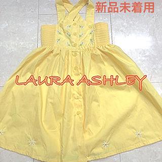 ローラアシュレイ(LAURA ASHLEY)のレア【未着用】綺麗な黄色ローラアシュレイ サンドレス3years・元気な夏色(ワンピース)