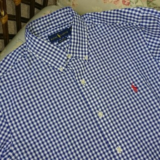 ラルフローレン(Ralph Lauren)の新品☆ラルフローレン 長袖シャツ ギンガムチェック 紺&白 US M(シャツ)