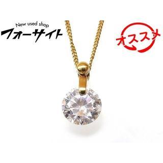 K18 YG イエローゴールド ネックレス ■ 大粒 ジルコン トップ(ネックレス)