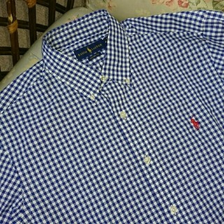 ラルフローレン(Ralph Lauren)の新品☆ラルフローレン 長袖シャツ ギンガムチェック 紺&白 US L(シャツ)