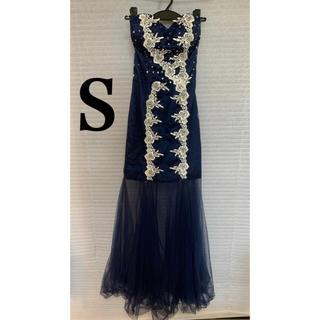 デイジーストア(dazzy store)の最終値下げ ロングドレス 紺色 スカートシースルー S(ロングドレス)