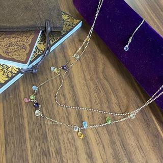 agete - agete 素敵なマルチカラー色石 ロング 重ねネックレス