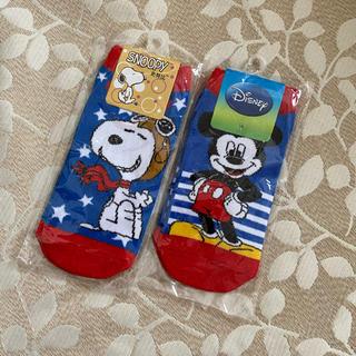 スヌーピー(SNOOPY)の靴下22〜24cm スヌーピー ミッキーマウス (靴下/タイツ)