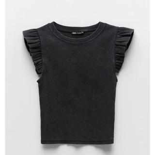 ZARA - フリル付きユーズド仕上げTシャツ