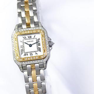 カルティエ(Cartier)の【仕上済】カルティエ パンテール 1ロウ コンビ ダイヤ レディース 腕時計(腕時計)