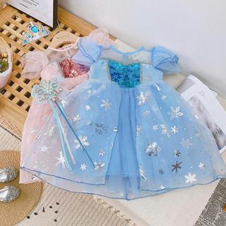 【100cm】アナ雪 エルサ 風 なりきり コスプレ プリンセス  ドレス