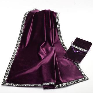 厚手 高級ベルベット調 大判 タロットクロス ポーチ付き 紫(トランプ/UNO)