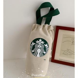 Starbucks Coffee - 【スターバックス】 ミニ  キャンバス トートバッグ  巾着バッグ ベージュ