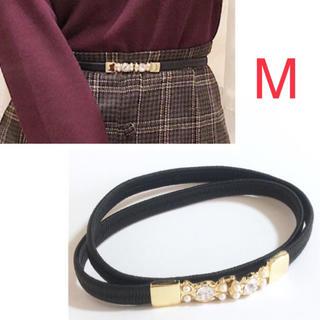 evelyn - エブリン ビジュー ゴムベルト 黒/ブラック Mサイズ