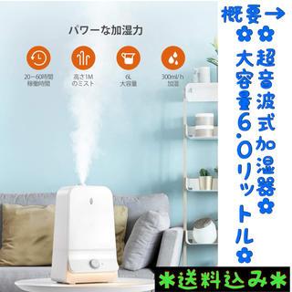 【高さ1mミスト⭐️】加湿器 超音波式 6.0L大容量 超静音 長時間稼働