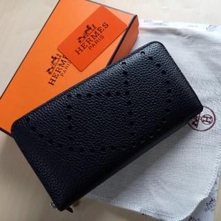 Hermes - 長財布 エルメス 小銭入れ ファスナー ブラック