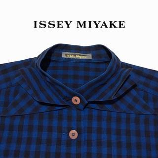 イッセイミヤケ(ISSEY MIYAKE)のISSEY MIYAKE ノーカラー チェックシャツ イッセイミヤケ 80s(シャツ/ブラウス(長袖/七分))