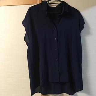 GU - GU 透けシャツ L ネイビー