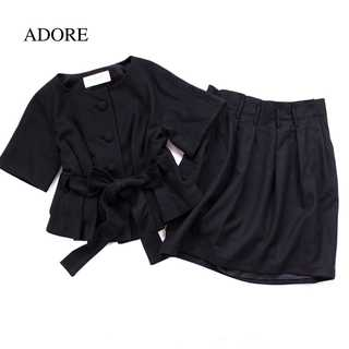 ADORE - アドーア★ウール素材 秋冬 トップス&スカート 黒 ブラック 綺麗め 38(M)