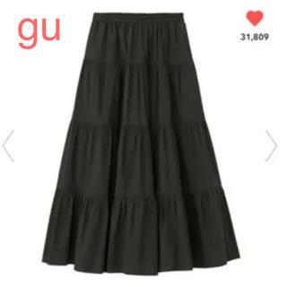 GU - GU ティアード ロングスカート 黒 ブラック