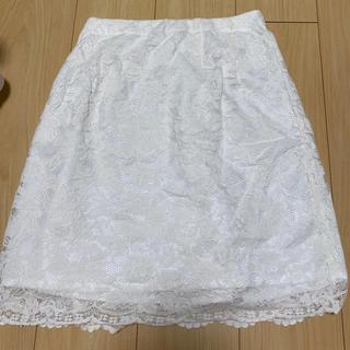 マーキュリーデュオ(MERCURYDUO)のMERCURYDUO ホワイト レーススカート(ひざ丈スカート)