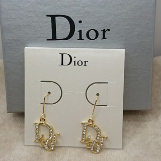 Christian Dior - CD359 未使用【Dior ディオール】ピアス ストーン ゴールド ロゴ