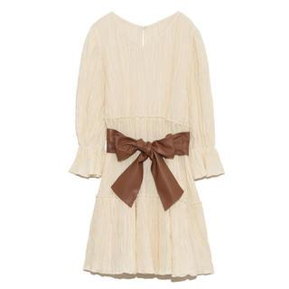リリーブラウン(Lily Brown)のlilybrown ベルト付きティアードワンピース(ひざ丈スカート)