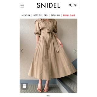 snidel - SNIDEL シャツディテールワンピース S 【BEG】