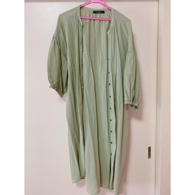 w closet(ダブルクローゼット)のw closet グリーン 羽織り レディースのトップス(シャツ/ブラウス(長袖/七分))の商品写真