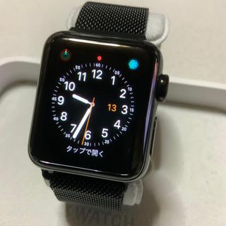 アップルウォッチ(Apple Watch)のApple Watch series3 セルラー 38mm ブラックステンレス(腕時計(デジタル))