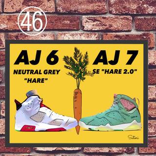 AIR JORDAN 6 7 HARE コミックシューズ ポスター 額付き 1枚(スニーカー)