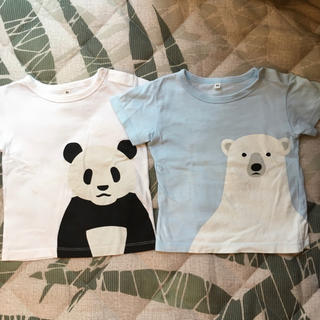ムジルシリョウヒン(MUJI (無印良品))のTシャツ二枚セット パンダ、白くま 綿100%(Tシャツ)