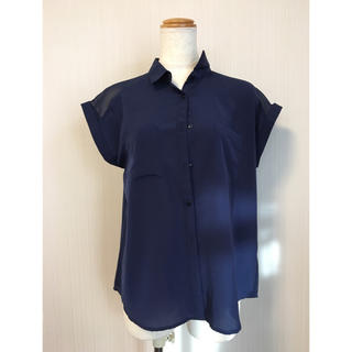 GU - メンズライクシャツブラウス シフォン半袖ネイビー系