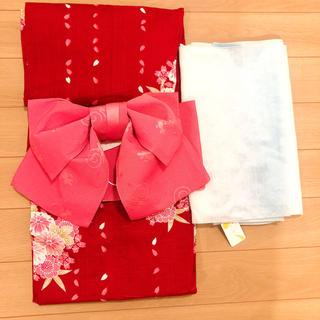 グレイル(GRL)の新品未使用*浴衣セット*赤ピンク*作り帯*へこ帯付き(浴衣)