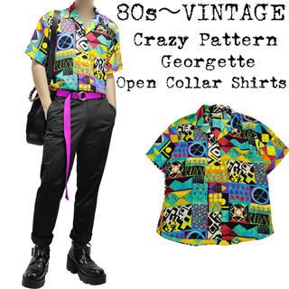 ★美品★80s〜VINTAGE★オープンカラーシャツ★クレイジーパターン★マルチ