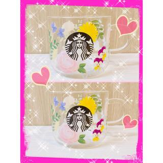 スターバックスコーヒー(Starbucks Coffee)のタイムセール❗️スターバックス☆耐熱グラスマグ☆フローラル☆2個(グラス/カップ)