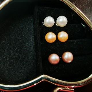 パールピアス 本真珠 925 シルバー シンプル 艶やか 冠婚葬祭 ピンク