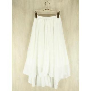 アングリッド(Ungrid)の美品 ungrid アングリッド 楊柳スカート ホワイト アシメ(ロングスカート)