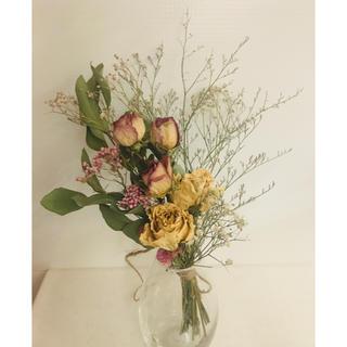 2種類の バラ ドライフラワー スワッグ ブーケ 花束(ドライフラワー)
