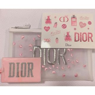 Christian Dior - Dior 花びら白メッシュポーチ・ロゴ入り鏡・シール 新品未使用非売品