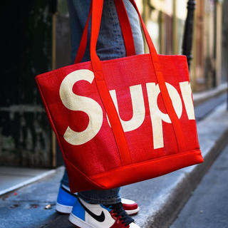 Supreme - 赤 supreme raffia tote bag シュプリーム トートバッグ