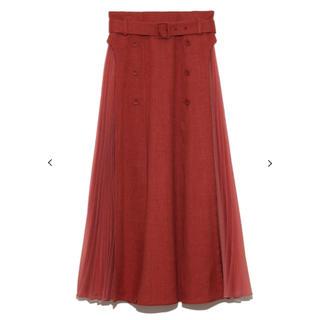 リリーブラウン(Lily Brown)の異素材切り替えプリーツスカート(ロングスカート)