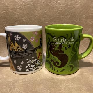 スターバックスコーヒー(Starbucks Coffee)のstarbucks マグカップ&皿 ☆ 旧ロゴデザイン(グラス/カップ)