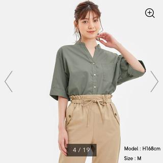 GU - GU ワイドスリーブシャツ(5分袖)56OLIVE
