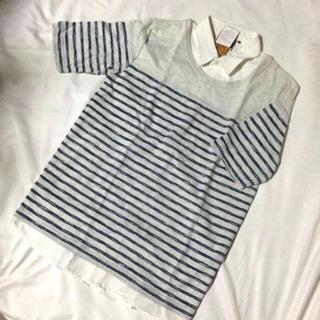 シマムラ(しまむら)の新品  未使用タグ付き 衿ボーダーシャツ(Tシャツ/カットソー(半袖/袖なし))