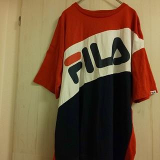 FILA - FILA フィラ Tシャツ メンズ M トリコロール デカロゴ ビッグシルエット