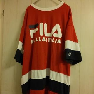 FILA - FILA フィラ Tシャツ メンズ L トリコロール デカロゴ ビッグシルエット
