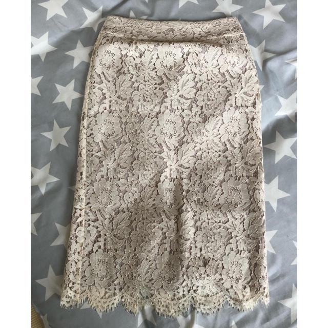 IENA(イエナ)のIENA レースタイトスカート 36 ナチュラル レディースのスカート(ロングスカート)の商品写真