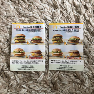 マクドナルド(マクドナルド)のマクドナルド 株主優待券 バーガー 2枚(フード/ドリンク券)