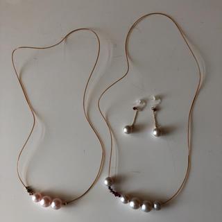 フェリシモ(FELISSIMO)のコットンパールのネックレスとピアスのセット(ネックレス)