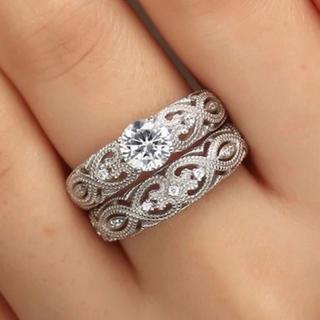 14号2ピースセットAAA級CZダイヤモンドシルバーリング(リング(指輪))