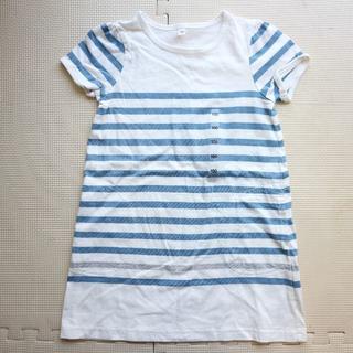 ムジルシリョウヒン(MUJI (無印良品))の新品100cm/無印良品/半袖Tシャツ ワンピース/ボーダー/MUJI/夏(ワンピース)