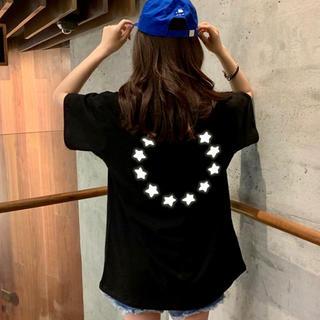 オーバーサイズ Tシャツ スター 星 ブラック 黒 男女兼用(Tシャツ(半袖/袖なし))
